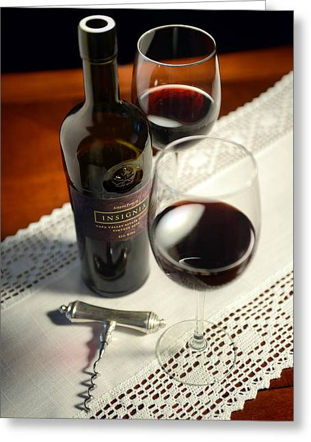 Wine-bottle Greeting Cards - Insignia for Two Greeting Card by Jon Neidert