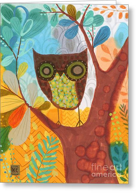 Baby Bird Drawings Greeting Cards - Insomnia Owl Greeting Card by Kate Cosgrove