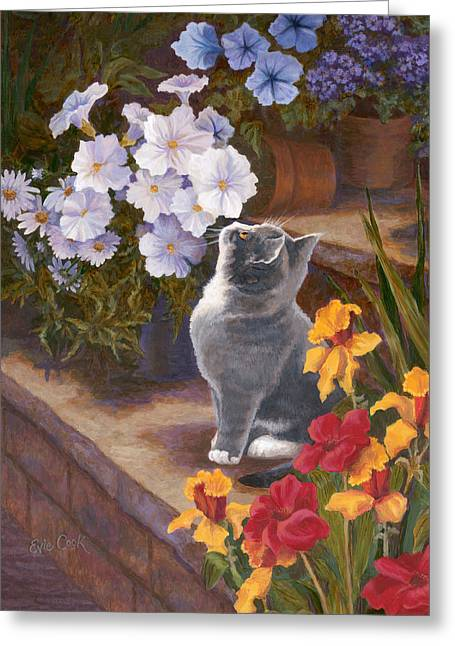 Kittens Greeting Cards - Inspecting the Blooms Greeting Card by Evie Cook