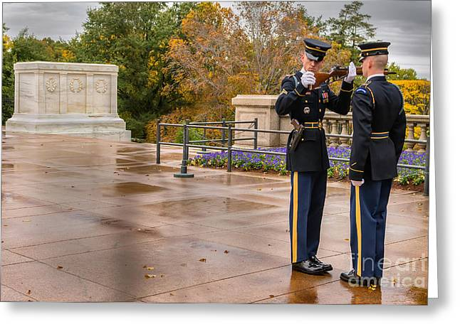 Soldiers National Cemetery Digital Art Greeting Cards - Inspection Greeting Card by Jerry Fornarotto