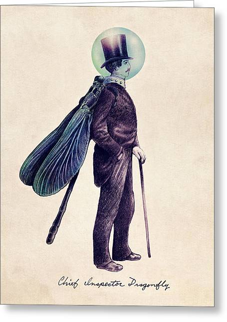 Dragonfly Greeting Cards - Inspector Dragonfly Greeting Card by Eric Fan