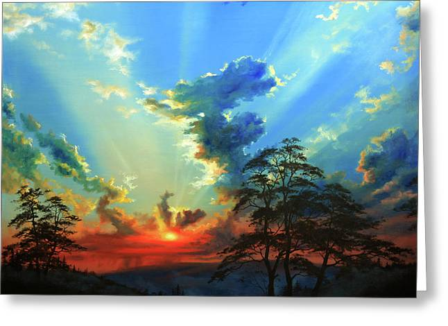 Sunset Posters Greeting Cards - Inspiration Greeting Card by Hanne Lore Koehler