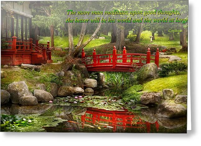 Koi Artwork Greeting Cards - Inspiration - Japanese Garden - Meditation Greeting Card by Mike Savad