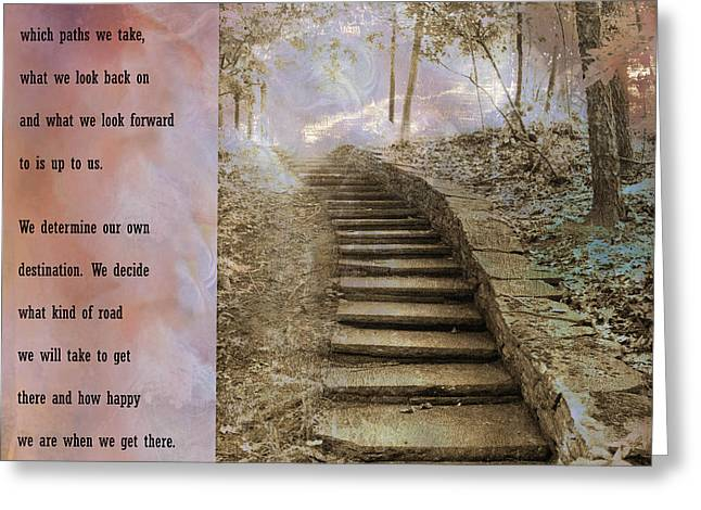 Inspirational Art Nature - Stairs To Heaven - Dreamy Nature Greeting Card by Kathy Fornal