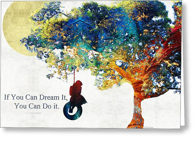 Thinking Paintings Greeting Cards - Inspirational Art - You Can Do It - Sharon Cummings Greeting Card by Sharon Cummings
