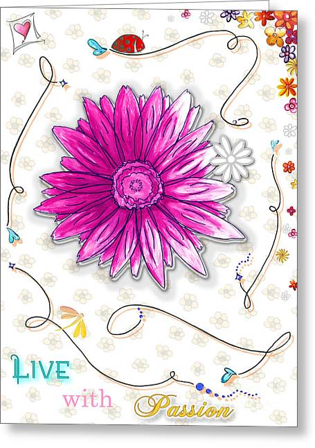 Surface Design Greeting Cards - Inspirational Floral Art Quote Ladybug Dragonfly Painting Live with Passion by Megan Duncanson Greeting Card by Megan Duncanson