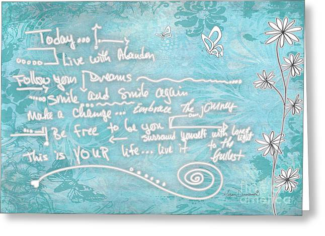Quotes To Live By Greeting Cards - Inspirational Floral Butterfly Quote Live Life Art by Megan Duncanson Greeting Card by Megan Duncanson