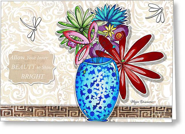 Uplifting Drawings Greeting Cards - Inspirational Floral Dragonfly Painting Flower Vase with quote by Megan Duncanson Greeting Card by Megan Duncanson
