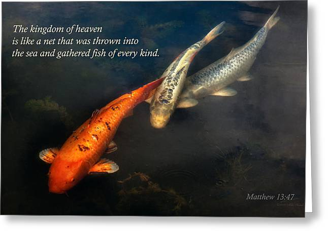 Sincerity Greeting Cards - Inspirational - Gathering fish of Every kind - Matthew 13-47 Greeting Card by Mike Savad