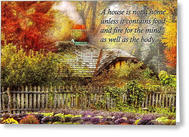 Inspirational - Home Is Where It's Warm Inside - Ben Franklin Greeting Card by Mike Savad