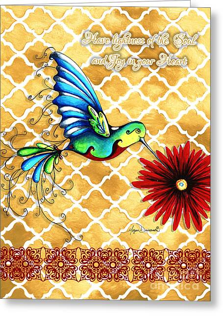 Quotes To Live By Greeting Cards - Inspirational Hummingbird Art Gold Red Turquoise Pattern Quote by Megan Duncanson Greeting Card by Megan Duncanson