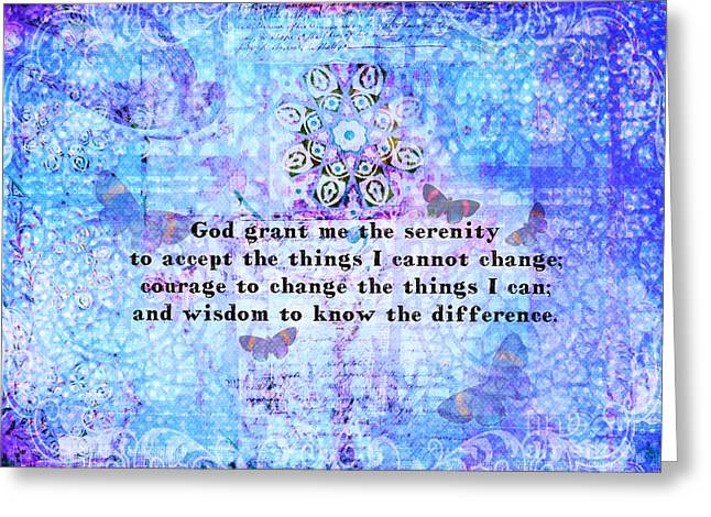 Serenity Prayer Mixed Media Greeting Cards - Inspirational Serenity Prayer Painting Greeting Card by Alley Costa