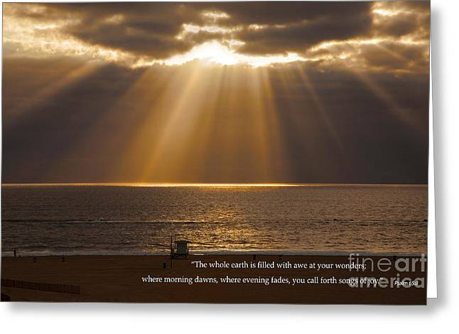Print On Canvas Greeting Cards - Inspirational Sun Rays Over Calm Ocean Clouds Bible Verse Photograph Greeting Card by Jerry Cowart