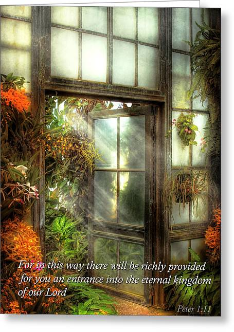 Sincerity Greeting Cards - Inspirational - The door to paradise - Peter 1-11 Greeting Card by Mike Savad