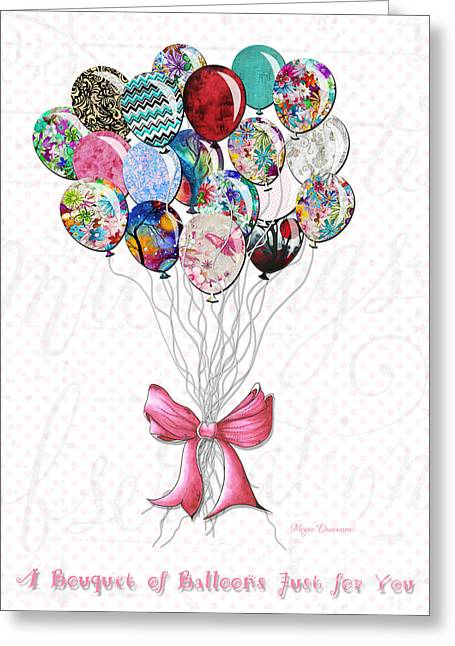 Polkadots Greeting Cards - Inspirational Uplifting Floral Balloon Art A Bouquet of Balloons Just for You by Megan Duncanson Greeting Card by Megan Duncanson