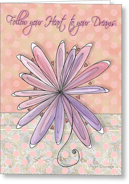 Polkadots Greeting Cards - Inspirational Uplifting Flower Art Polka Dot Pattern Follow your Heart to your Dream Megan Duncanson Greeting Card by Megan Duncanson