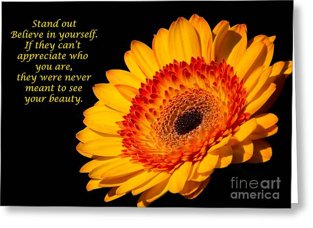 Recently Sold -  - Floral Digital Art Greeting Cards - Inspirational Yellow Gerbera Daisy Greeting Card by Daphne Sampson