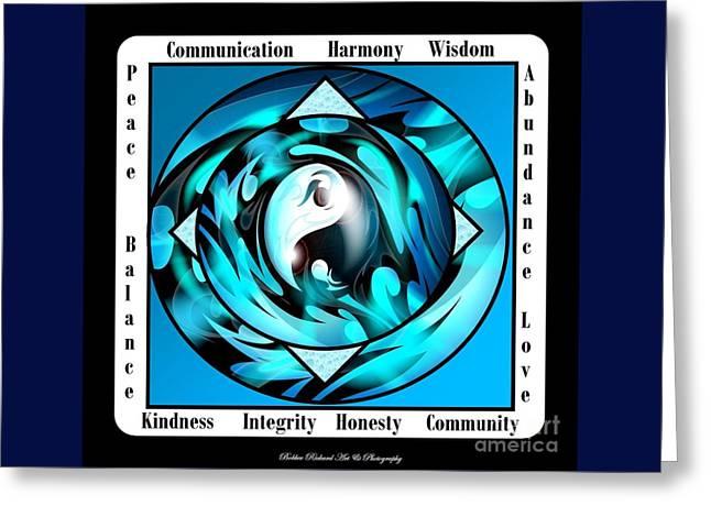 Inspirational Yin Yang  Greeting Card by Bobbee Rickard