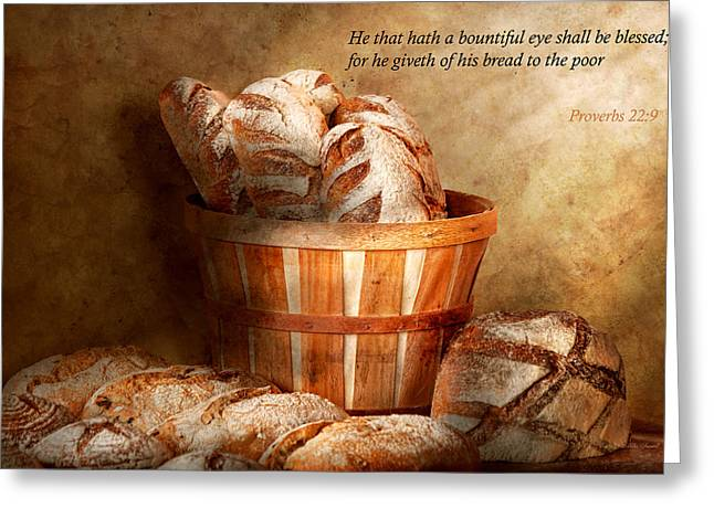 Donates Greeting Cards - Inspirational - Your daily bread - Proverbs 22-9 Greeting Card by Mike Savad