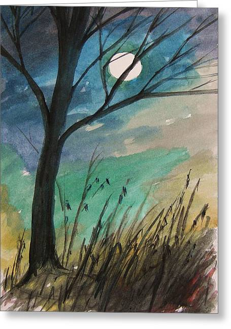 Bare Trees Drawings Greeting Cards - Inspired by the Moon Last Evening Greeting Card by John  Williams
