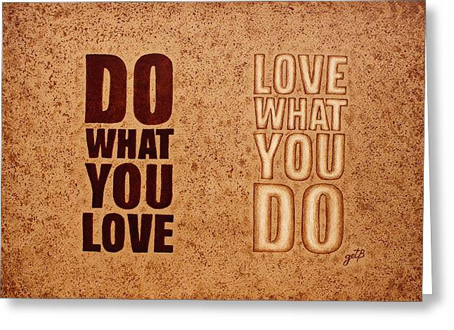 Inspiring Quote Original Coffee Painting Greeting Card by Georgeta Blanaru