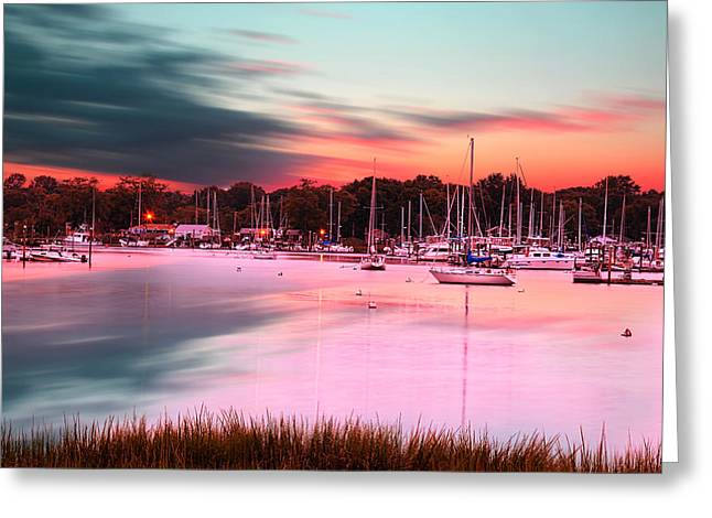 Inspiring View - Rhode Island At Dusk Warwick Neck Marina Harbor Sunset Greeting Card by Lourry Legarde