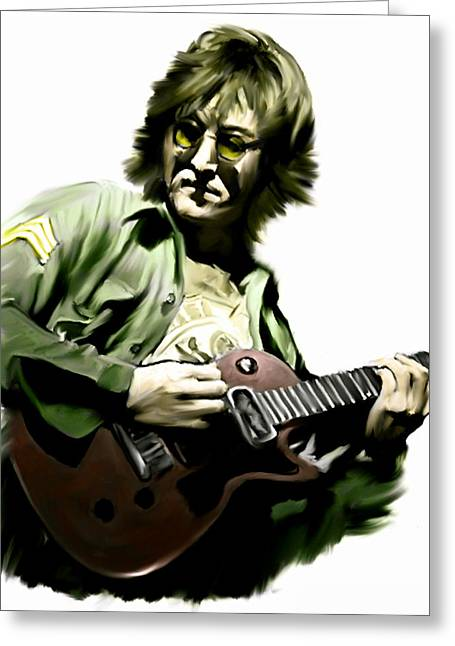 John Lennon Art Greeting Cards - Instant Karma  John Lennon Greeting Card by Iconic Images Art Gallery David Pucciarelli