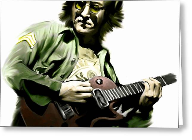 Rock And Roll Music Greeting Cards - Instant Karma  John Lennon Greeting Card by Iconic Images Art Gallery David Pucciarelli
