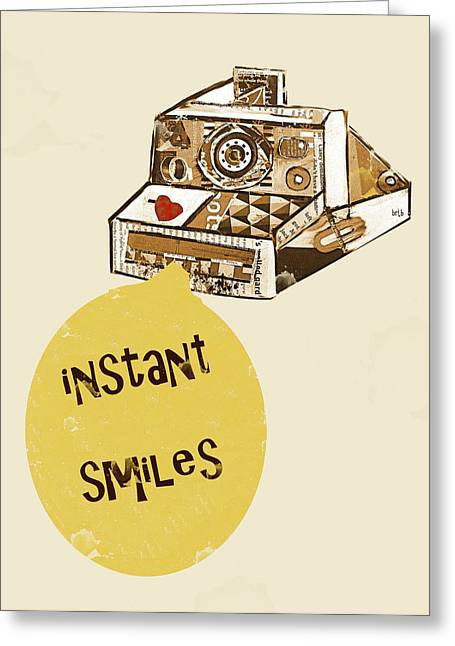 Camera Paintings Greeting Cards - Instant Smiles Greeting Card by Bri Buckley
