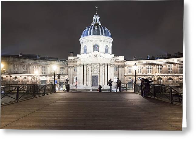 Paris At Night Greeting Cards - Institut de France - Parisian Night Scene Greeting Card by Mark Tisdale