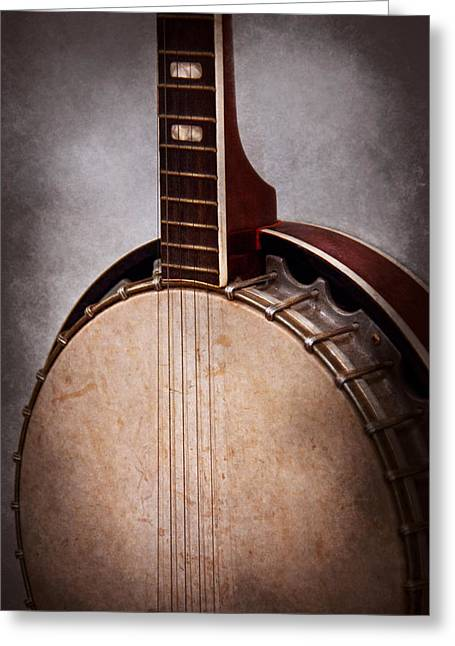 """""""fret Board"""" Greeting Cards - Instrument - String - A typical banjo  Greeting Card by Mike Savad"""