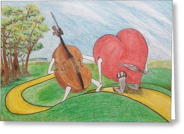 Impacting Drawings Greeting Cards - Instrument that killed her heart Greeting Card by Isaac Acosta
