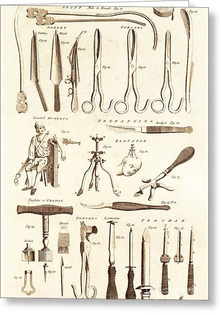 Ligature Greeting Cards - Instruments For Lithotomy And Trepanning. Greeting Card by David Parker