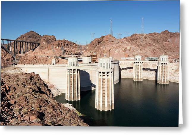 Intake Towers For The Hoover Dam Greeting Card by Ashley Cooper