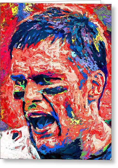 National Football League Paintings Greeting Cards - Intense by Tom Brady Greeting Card by John Farr