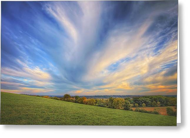 Wisconsin Landscape Greeting Cards - Intense clouds - Fall Sunset - Retzer Nature Center - Waukesha Greeting Card by The  Vault - Jennifer Rondinelli Reilly