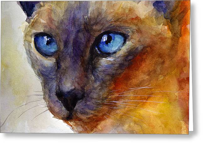 Cute Kitten Drawings Greeting Cards - Intense Siamese Cat painting print 2 Greeting Card by Svetlana Novikova