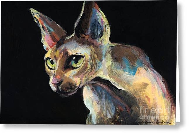 Austin Pet Artist Greeting Cards - Intense Sphinx Sphynx Cat art painting Greeting Card by Svetlana Novikova
