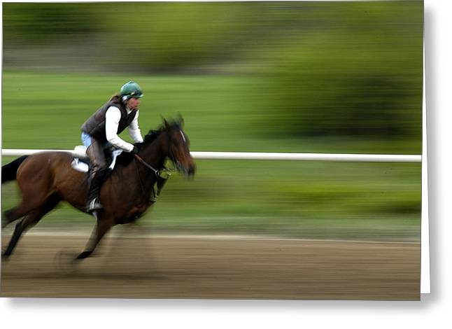 Keeneland Greeting Cards - Intense Training Greeting Card by Randall Branham