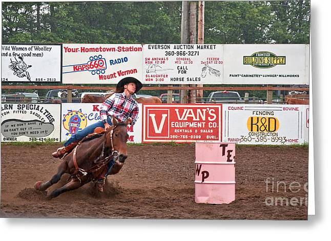 Lady Washington Greeting Cards - Intense Woman Barrel Racing in Rodeo Greeting Card by Valerie Garner
