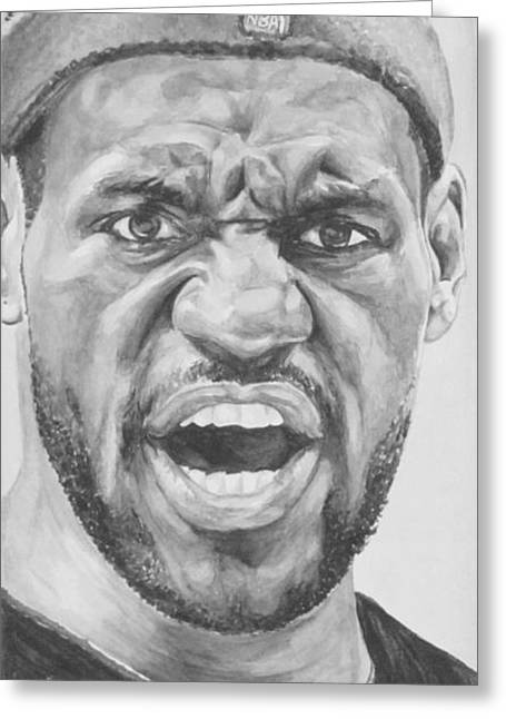 Dream Team Greeting Cards - Intensity Lebron James Greeting Card by Tamir Barkan