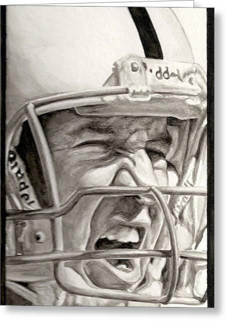 Pro Football Paintings Greeting Cards - Intensity Peyton Manning Greeting Card by Tamir Barkan