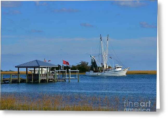 Water Vessels Greeting Cards - Inter Coastal Scene Greeting Card by Bob Sample