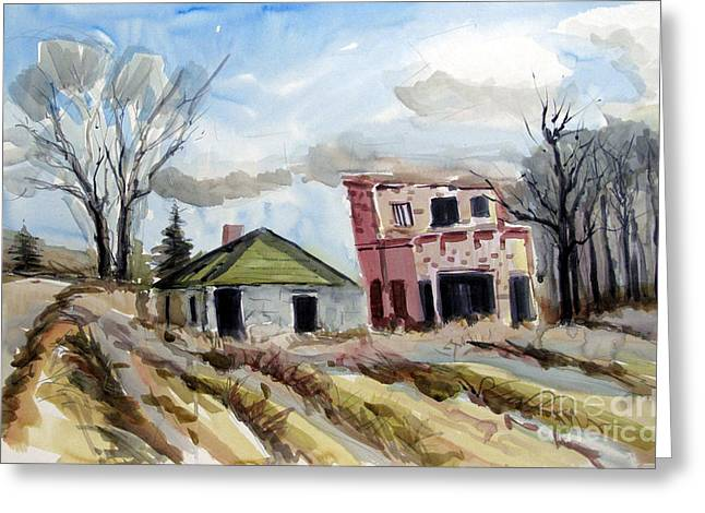 Indiana Landscapes Paintings Greeting Cards - Inter Urban Railroad Greeting Card by Charlie Spear