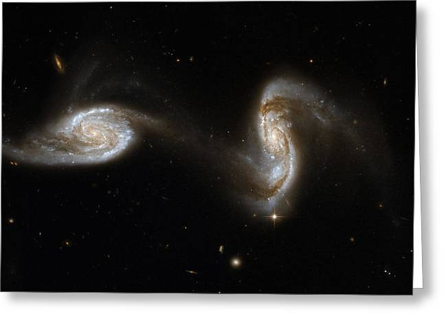 Glister Greeting Cards - Interacting pair of spiral galaxies Greeting Card by Celestial Images