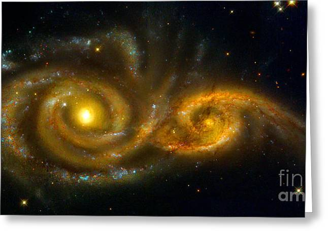 Interacting Spiral Galaxies Ngc 2207 And Ic 2163  Greeting Card by Nicholas Burningham
