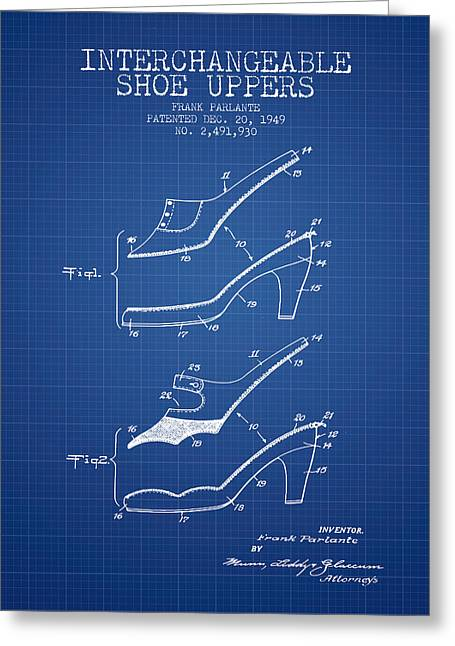 Lace Shoes Greeting Cards - Interchangeable Shoe Uppers patent from 1949 - Blueprint Greeting Card by Aged Pixel