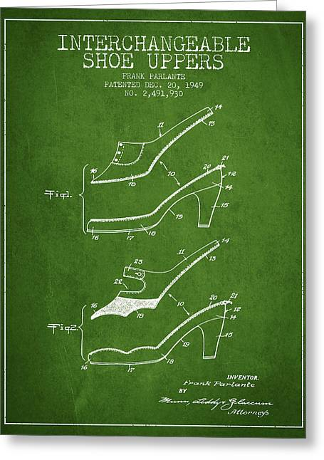 Lace Shoes Greeting Cards - Interchangeable Shoe Uppers patent from 1949 - Green Greeting Card by Aged Pixel