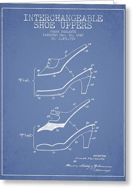 Vintage Shoes Greeting Cards - Interchangeable Shoe Uppers patent from 1949 - Light Blue Greeting Card by Aged Pixel
