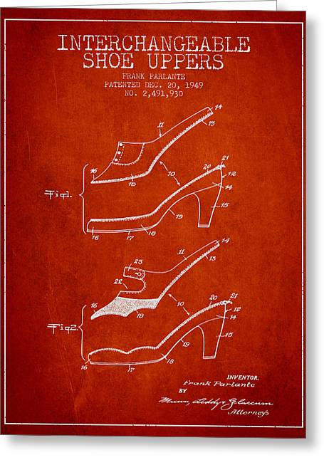 Lace Shoes Greeting Cards - Interchangeable Shoe Uppers patent from 1949 - Red Greeting Card by Aged Pixel